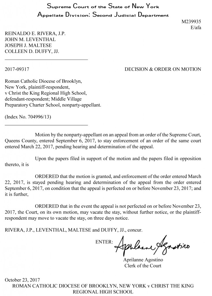 Roman Catholic Diocese of Brooklyn, New York v Christ the King R