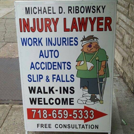 Ribowsky Personal Injury Law Sign On Jamaica Ave