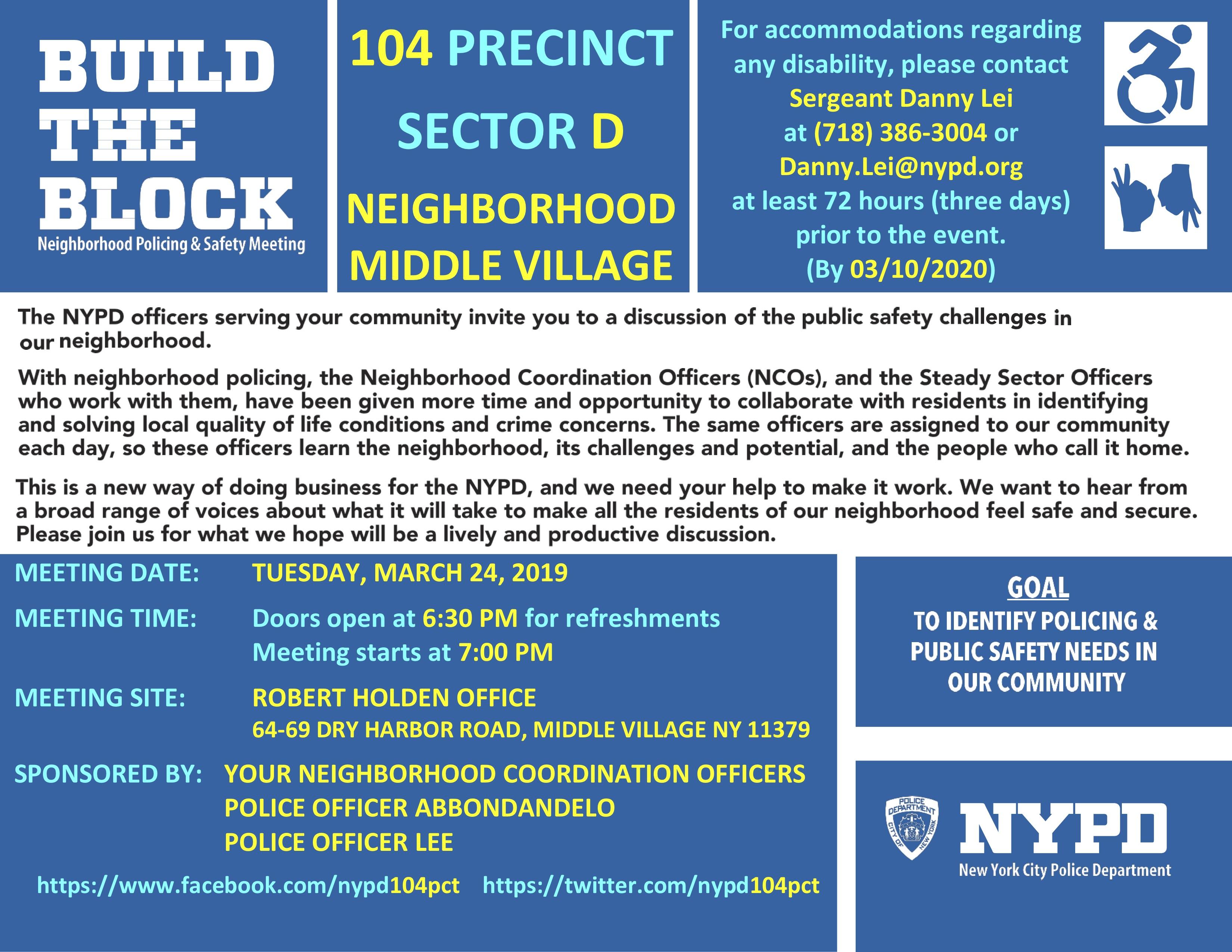 NYPD BTB Meeting Invitation Flyer Sector David